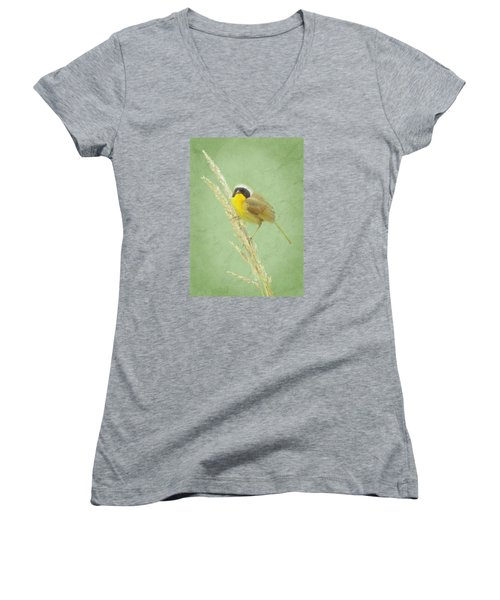 Women's V-Neck T-Shirt (Junior Cut) featuring the digital art Spring In The Marsh by I'ina Van Lawick