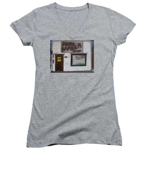 Women's V-Neck T-Shirt (Junior Cut) featuring the mixed media Stans Barber Shop Menominee by Jonathon Hansen