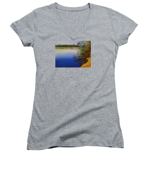 Still Waters - Original Sold Women's V-Neck T-Shirt (Junior Cut) by Therese Alcorn