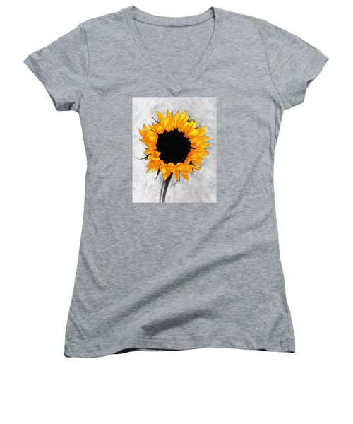 Women's V-Neck T-Shirt (Junior Cut) featuring the photograph Sun Fire 2 by I'ina Van Lawick