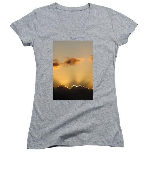 Sun Rays And Dark Clouds Women's V-Neck T-Shirt