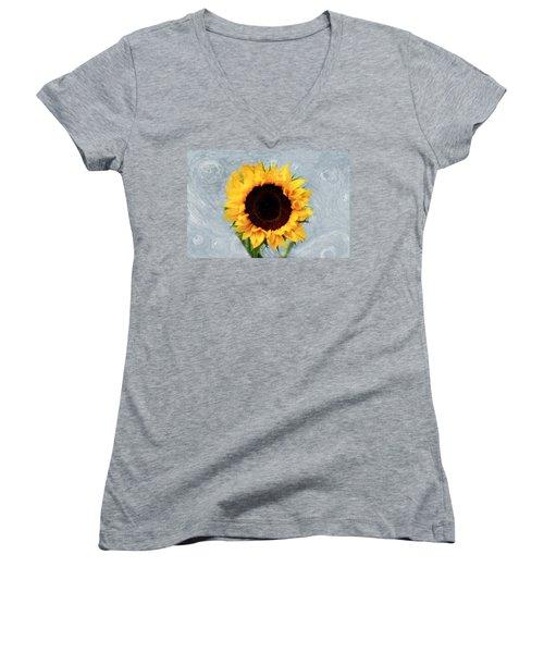Sunflower Women's V-Neck T-Shirt (Junior Cut) by Bill Howard