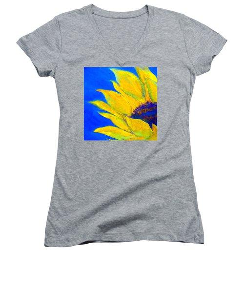 Sunflower In Blue Women's V-Neck T-Shirt
