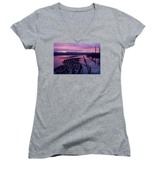 Sunrise Lumber Mill Women's V-Neck T-Shirt