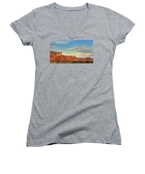 Women's V-Neck T-Shirt (Junior Cut) featuring the photograph Sunset At Ghost Ranch by Alan Vance Ley