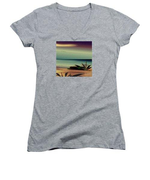 Women's V-Neck T-Shirt (Junior Cut) featuring the drawing Sunset On The Beach by Iris Gelbart