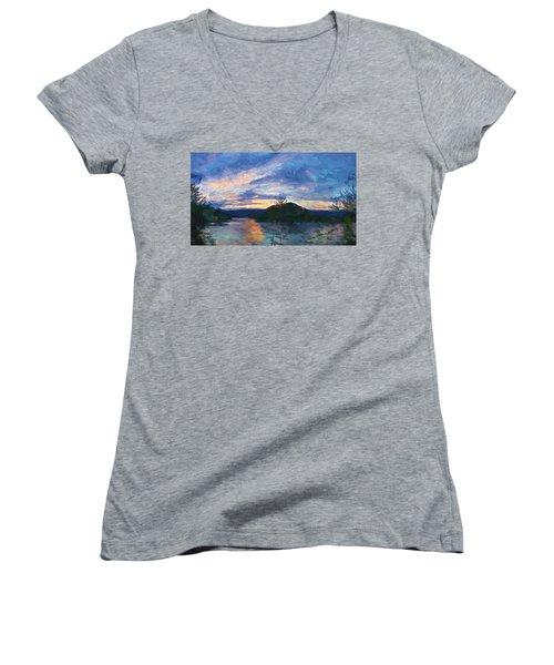 Sunset Pano - Watauga Lake Women's V-Neck T-Shirt