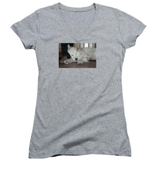 Sweet Dreams Women's V-Neck T-Shirt (Junior Cut) by Fiona Kennard