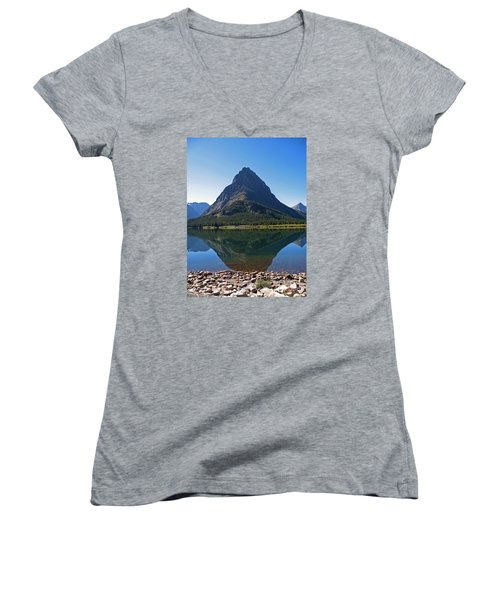Women's V-Neck T-Shirt (Junior Cut) featuring the photograph Swiftcurrent  Lake Many Glacier by Joseph J Stevens