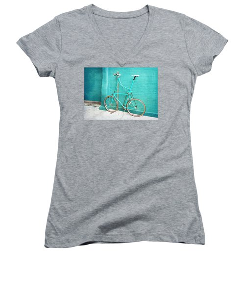 Women's V-Neck T-Shirt (Junior Cut) featuring the photograph Tall Bike On Aqua Blue Green by Brooke T Ryan