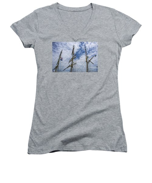 Women's V-Neck T-Shirt (Junior Cut) featuring the photograph Tall Ship Mast by Dale Powell