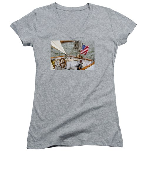 Tall Ship Wheel Women's V-Neck T-Shirt (Junior Cut) by Dale Powell