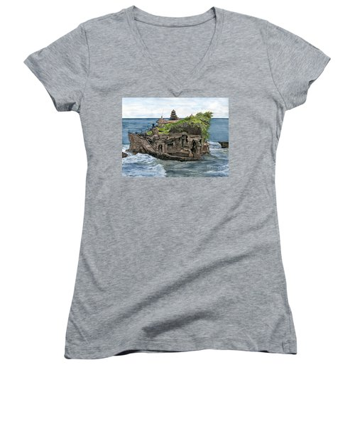 Women's V-Neck T-Shirt (Junior Cut) featuring the painting Tanah Lot Temple Bali Indonesia by Melly Terpening