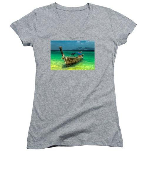 Thai Longboat Women's V-Neck T-Shirt (Junior Cut) by Adrian Evans