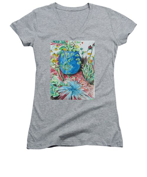 The Blue Flower Pot Women's V-Neck T-Shirt (Junior Cut) by Esther Newman-Cohen