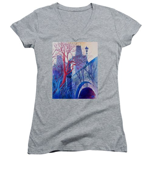Women's V-Neck T-Shirt (Junior Cut) featuring the painting The Charles Bridge Blues by Marina Gnetetsky