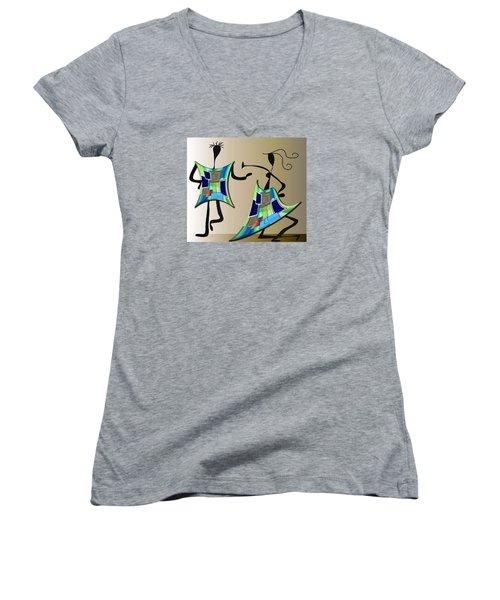 The Dancers Women's V-Neck T-Shirt (Junior Cut) by Iris Gelbart