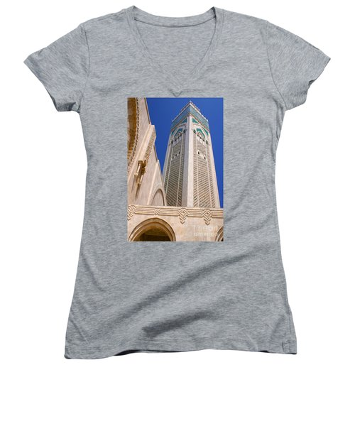 Women's V-Neck T-Shirt (Junior Cut) featuring the photograph The Hassan II Mosque Grand Mosque With The Worlds Tallest 210m Minaret Sour Jdid Casablanca Morocco by Ralph A  Ledergerber-Photography