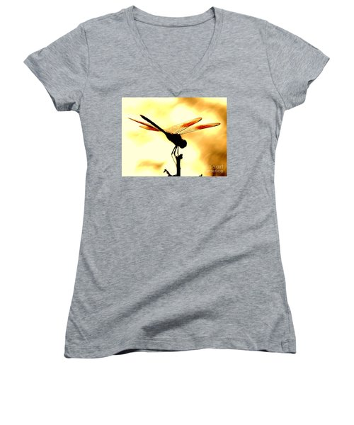 The Light Of Flight Upon The Mosquito Hawk At The Mississippi River In New Orleans Louisiana Women's V-Neck T-Shirt (Junior Cut) by Michael Hoard