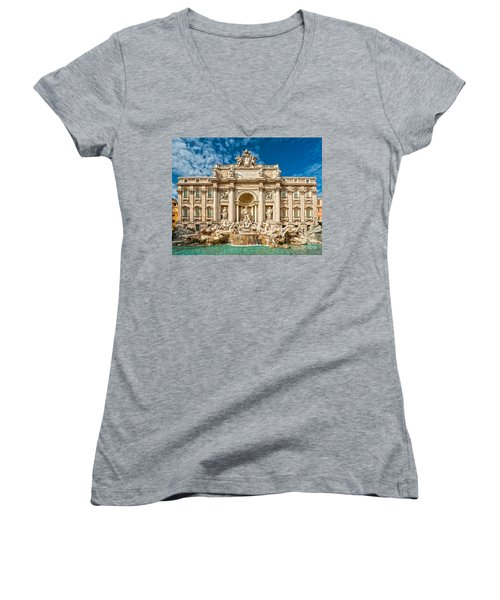 The Trevi Fountain - Rome Women's V-Neck T-Shirt