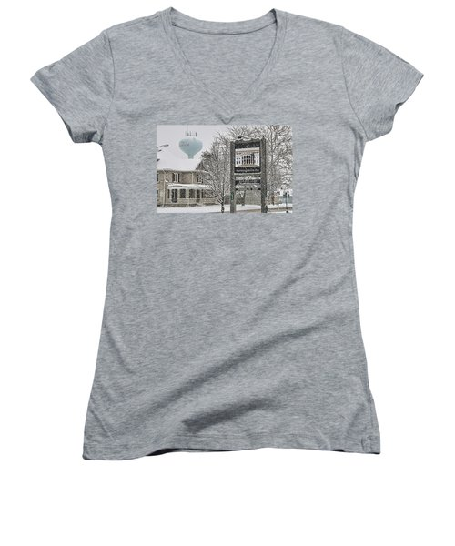 The Whitehouse Inn Sign 7034 Women's V-Neck T-Shirt