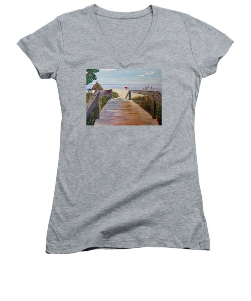 Women's V-Neck T-Shirt (Junior Cut) featuring the painting To The Beach by Marilyn  McNish