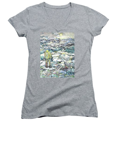 Women's V-Neck T-Shirt (Junior Cut) featuring the painting Tranquility by Evelina Popilian