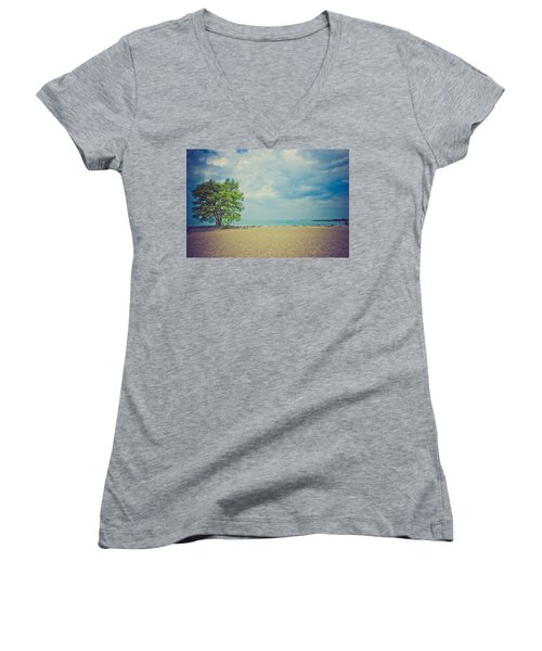Tranquility Women's V-Neck T-Shirt (Junior Cut) by Sara Frank