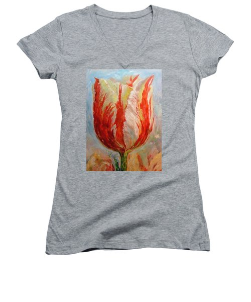 Tulip Women's V-Neck T-Shirt (Junior Cut) by Hans Droog