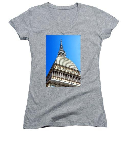Turin Mole Antonelliana Women's V-Neck T-Shirt (Junior Cut) by Valentino Visentini