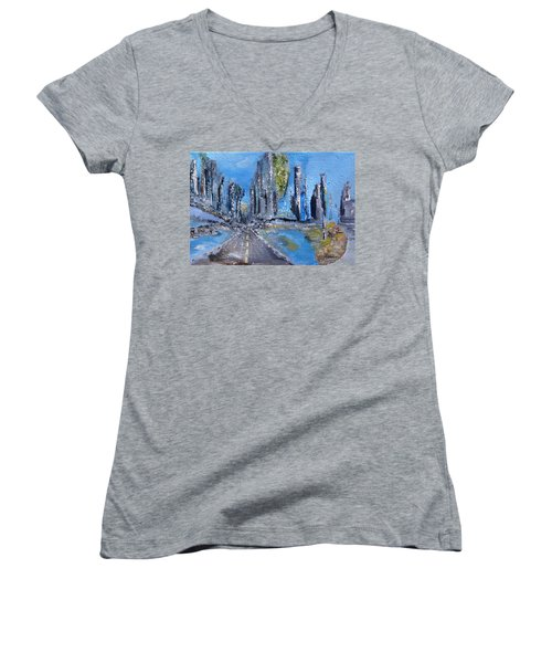 Women's V-Neck T-Shirt (Junior Cut) featuring the painting Urban by Evelina Popilian
