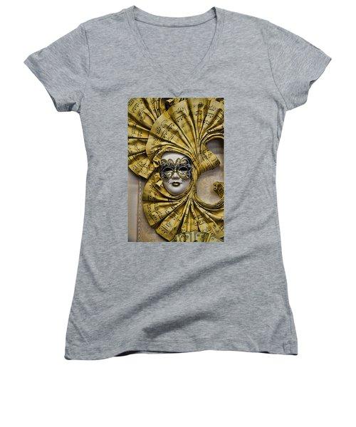 Venetian Carnaval Mask Women's V-Neck T-Shirt