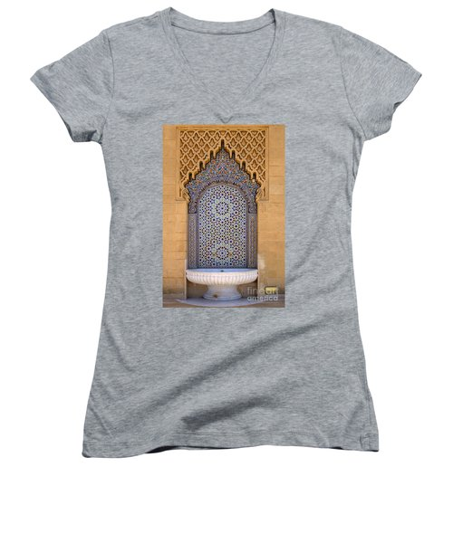 Women's V-Neck T-Shirt (Junior Cut) featuring the photograph Water Fountain Mausoleum Of Mohammed V Opposite Hassan Tower Rabat Morocco  by Ralph A  Ledergerber-Photography