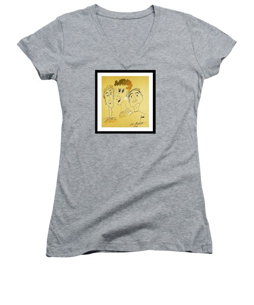 Women's V-Neck T-Shirt (Junior Cut) featuring the drawing We Are Family by Iris Gelbart