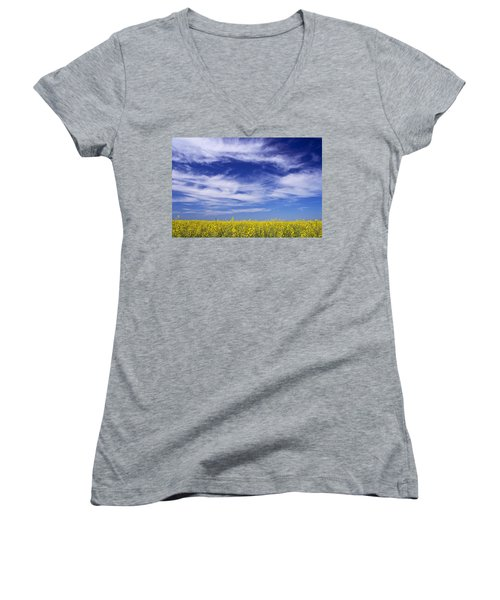 Women's V-Neck T-Shirt (Junior Cut) featuring the photograph Where Land Meets Sky by Keith Armstrong