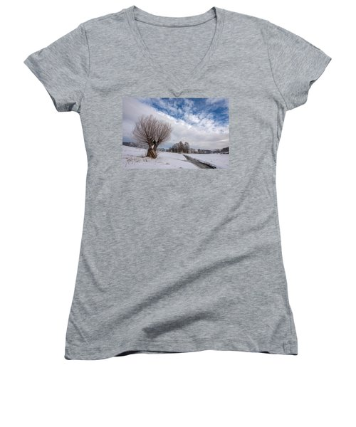 Women's V-Neck T-Shirt (Junior Cut) featuring the photograph Willow by Davorin Mance