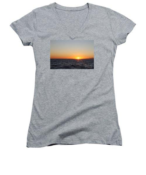 Winter Sunrise Over The Ocean Women's V-Neck T-Shirt