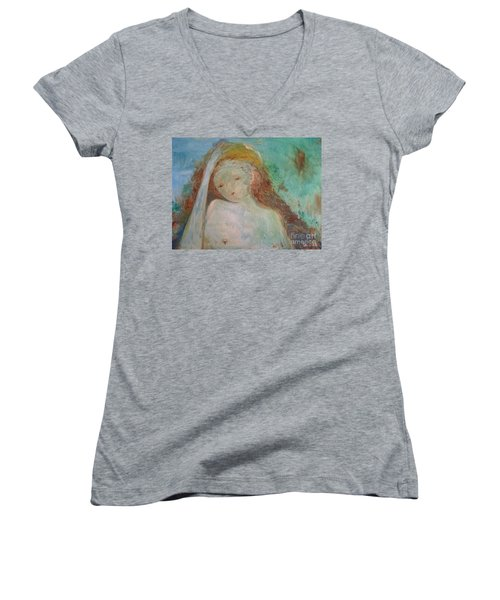 Woman Of Sorrows Women's V-Neck T-Shirt (Junior Cut)