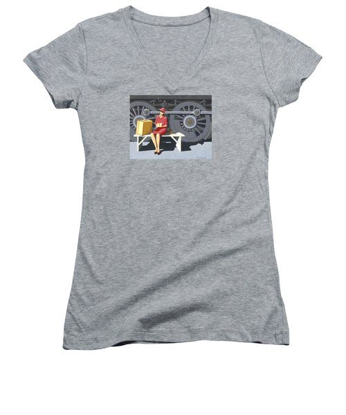 Women's V-Neck T-Shirt (Junior Cut) featuring the painting Woman With Locomotive by Gary Giacomelli