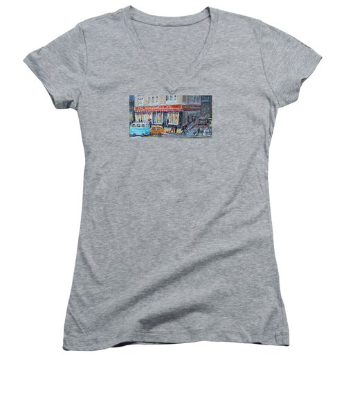 Woolworth's Holiday Shopping Women's V-Neck T-Shirt (Junior Cut) by Rita Brown