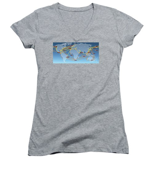 World Shipping Routes Map Women's V-Neck (Athletic Fit)