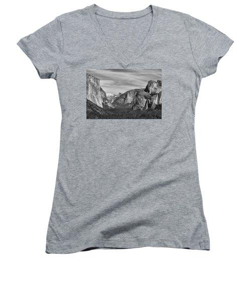 Yosemite Women's V-Neck T-Shirt (Junior Cut) by David Gleeson
