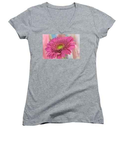 Gerbera Daisy Macro Women's V-Neck T-Shirt