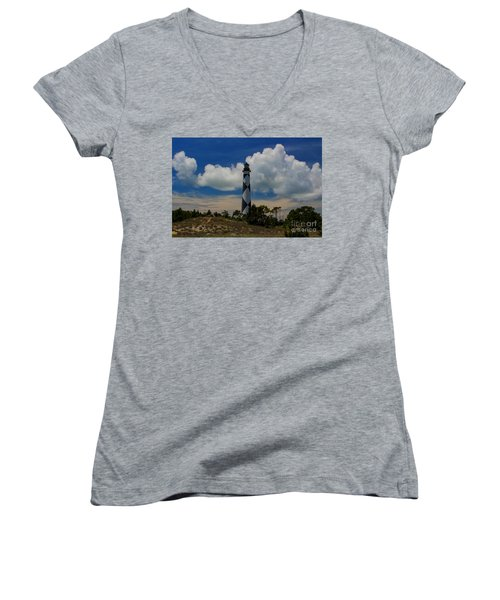 Cape Lookout Lighthouse Women's V-Neck (Athletic Fit)