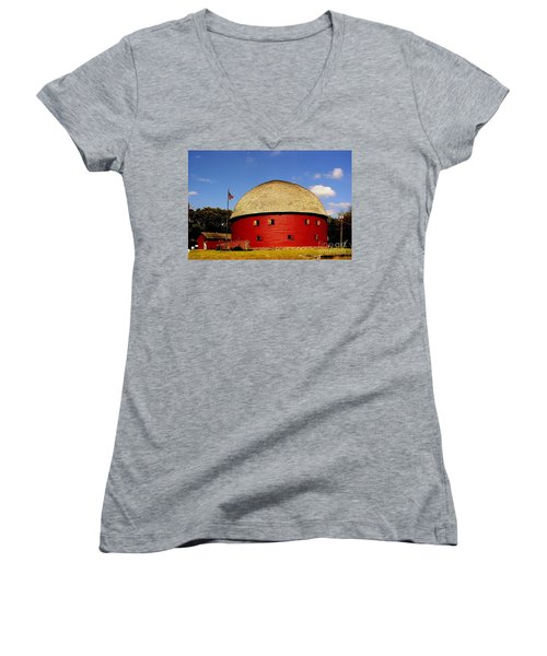 Women's V-Neck T-Shirt (Junior Cut) featuring the photograph 100 Year Old Round Red Barn  by Janette Boyd