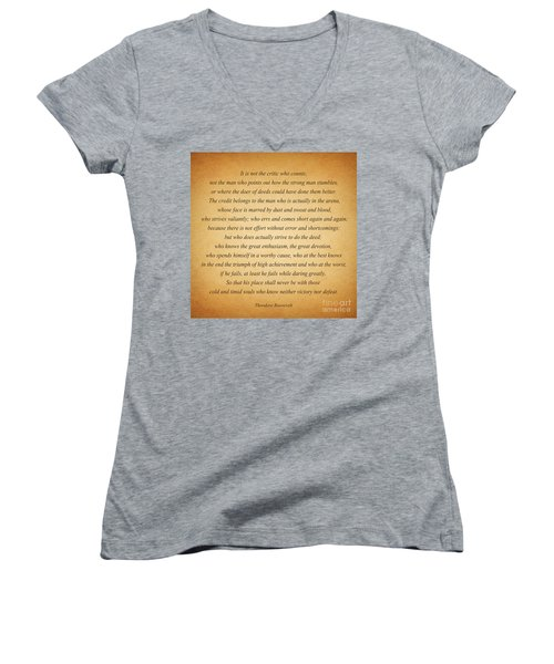 104- Theodore Roosevelt Women's V-Neck T-Shirt (Junior Cut) by Joseph Keane