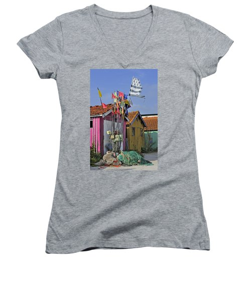 Women's V-Neck T-Shirt (Junior Cut) featuring the photograph 120920p200 by Arterra Picture Library