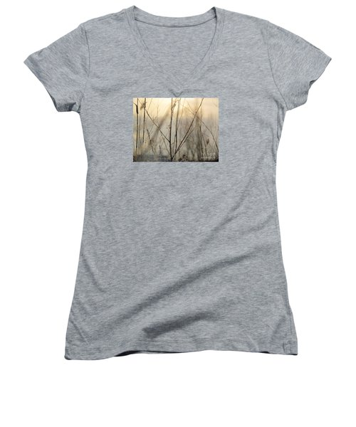 Women's V-Neck T-Shirt (Junior Cut) featuring the photograph Wildflowers Winter by France Laliberte
