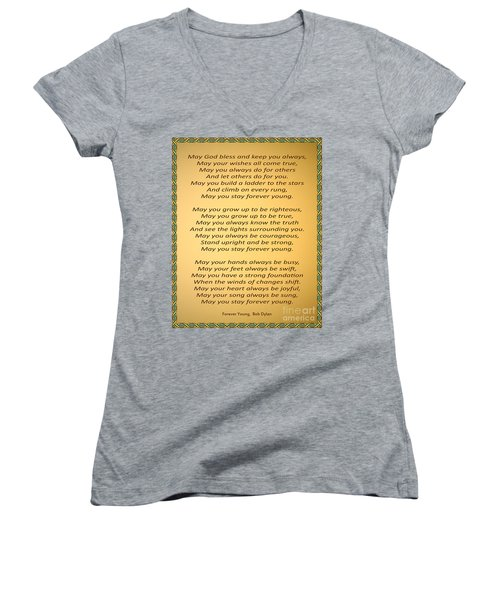 148- Bob Dylan Women's V-Neck T-Shirt (Junior Cut) by Joseph Keane