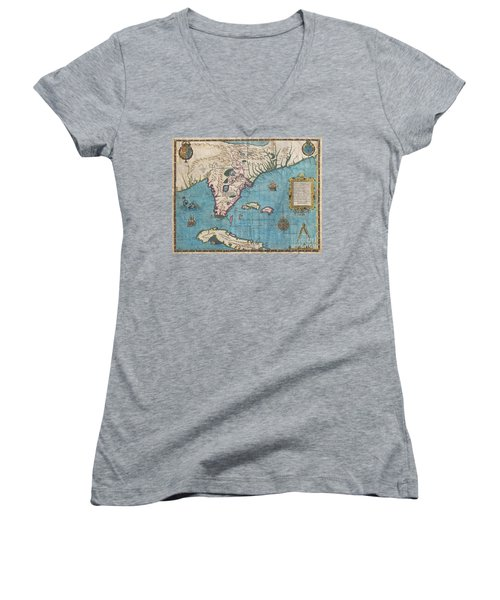 1591 De Bry And Le Moyne Map Of Florida And Cuba Women's V-Neck T-Shirt (Junior Cut) by Paul Fearn